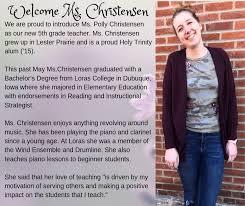 HTBlessed #HTGratitude4U Polly Christensen - Holy Trinity School - Winsted,  MN | Facebook