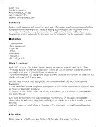 Resume Templates: Background Investigator