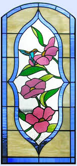 humming bird stained glass door window