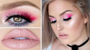 beauty tutorial colorful hot pink lilac teal eyes you