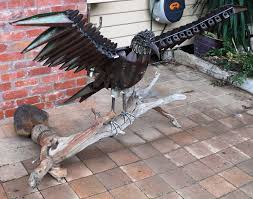 eagle sculpture life sized s metal garden art animal display australia