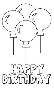 Birthday Party Coloring Pages Printable Happy Balloons Four
