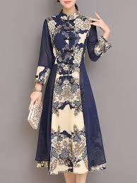 Designer Long Midi Dresses Shop Linen Dresses Navy Blue A Line Buttoned Paneled