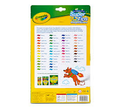 Crayola Supertips 50 Color Chart Washable Super Tips Markers 50 Count Crayola