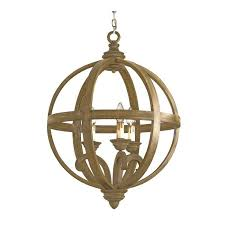 small wooden orb chandelier