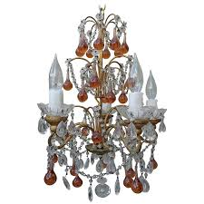 french crystal beaded chandelier w amber drops for