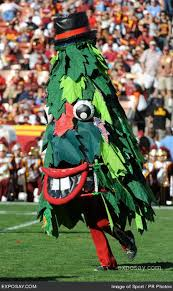 They should've just went head with an actual Christmas tree. It would've  been more festive that way. Seriously, this is the saddest mascot in the  history of ...