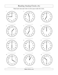 Measurement Worksheet -- Reading Time on an Analog Clock in 30 ...