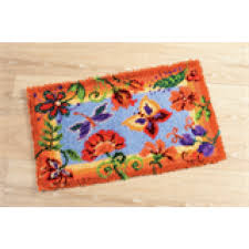 vervaco latch hook rug kit flower and erflies pn 0145323