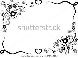 Border Black And White Vector Design Flowers Border Black White Stock Vector 263115026