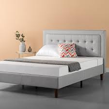 Zinus Dachelle Upholstered Button Tufted Premium Platform Bed / Mattress Foundation / Easy Assembly / Strong Wood Slat Support / Grey Sand, Queen