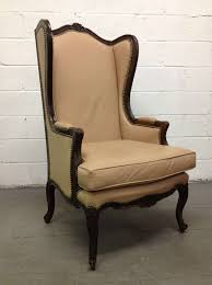 Wingback Chair French Leather Wingback Chair With Brass Stud Trim For Sale At 1stdibs