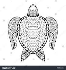 Small Picture Hand Drawn Sea Turtle Mascot Adult Stock Vector 364183325