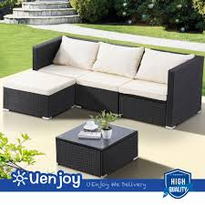 5 pcs rattan wicker patio outdoor sofa set garden corner couch with cushion