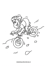 Kleurplaat Mountainbike Sport