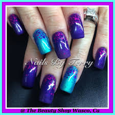 Purple And Teal Nail Designs Purple And Turquoise Eyeshadow Gel Nails Purple Nails