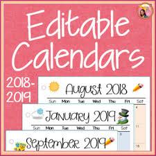Fillable Calendars 2015 Calendars 2018 2019 Editable By Nylas Crafty Teaching Tpt
