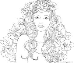 Welcome to our popular coloring pages site. Cute Girls Adult With Flowers Coloring Pages Printable For Teenage Girl Free Kids Wolf Frozen Fish Iron Man Turkey Emoji Sheets Oguchionyewu