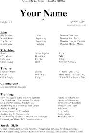 Actor Resume Examples New Child Acting Resume Sample Example No Experience Actor Beginners