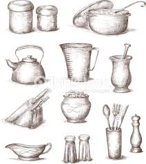 kitchen utensils art. Sketches Of Different Kitchen Utensils : Vector Art T