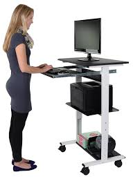 com mobile adjule height stand up workstation white black office s
