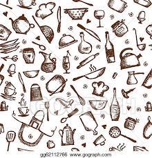Vector Art Kitchen utensils sketch seamless pattern Clipart