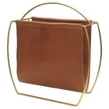 leather magazine rack. Plain Magazine Worlds Away Modern Brass U0026 Leather Magazine Rack On M