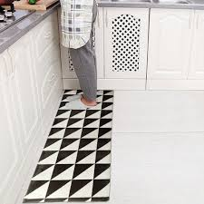 Non Slip Flooring For Kitchens Yazi Flannel Black And White Kitchen Floor Mat Area Rug Plush Non