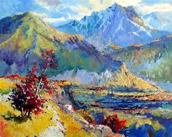 original art for at ugallery com early evening in mountains caucasus