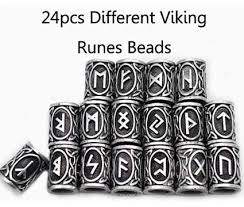 silver plated beads with runic symbols for beards and long hair 24pcs