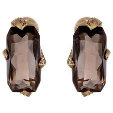 JV <b>Серьги с бриллиантами</b>, <b>раухтопазами</b> из желтого золота ...