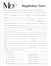 Registration Form Template Printable