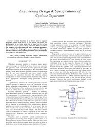 Cyclone Design Parameters Pdf Engineering Design Specifications Of Cyclone Separator