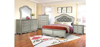 Panel Bedroom Set In Silver Finish Silver Cross Bedroom Sets
