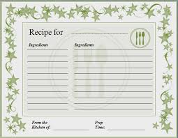 Recipe Form Templates Recipe Format Word Barca Fontanacountryinn Com