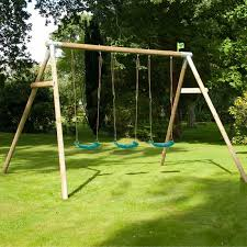 tp knightswood triple wooden swing frame including the swing seats shown