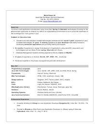 Resume Sample Java J2ee Developer Resume Java Developer