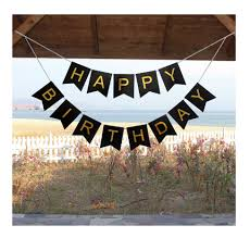 large black happy birthday wall banner