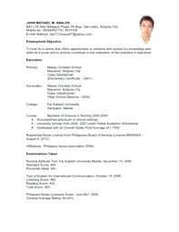 Sample Resume For Fresh Graduate Nurses With No Experience