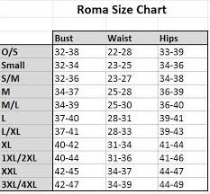 Roma Costume Size Chart Images Costumes Size Chart Secondtofirst Com