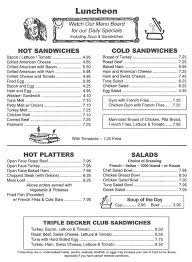menu for the garden grill