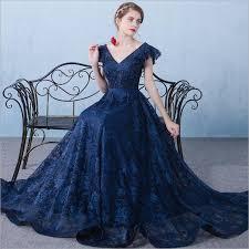 2019 <b>New</b> Vintage V neck A line <b>Long Evening Dress</b> Navy Blue ...