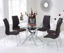 denver 120cm gl dining table with brown calgary chairs
