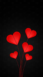 Emotions hearts, red, black background ...