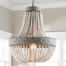 wood bead chandelier white