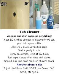 dawn shower cleaner tub cleaner vinegar and dish soap no scrubbing bathtub shower homemade shower cleaner