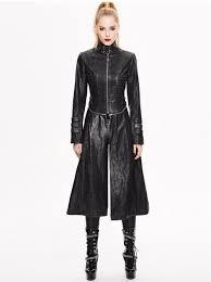 devil fashion gothic long spliced faux leather winter