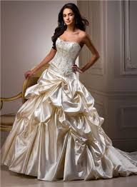 gown sweetheart champagne colored satin embroidery beaded wedding