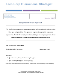 Free Nda Template Free Sample Download For Non Disclosure Agreements Nda For