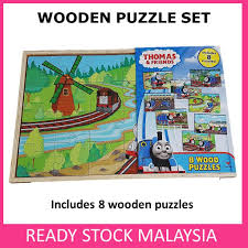 disney 8 set wood puzzles in wooden storage box mickey mouse thomas friends lazada
